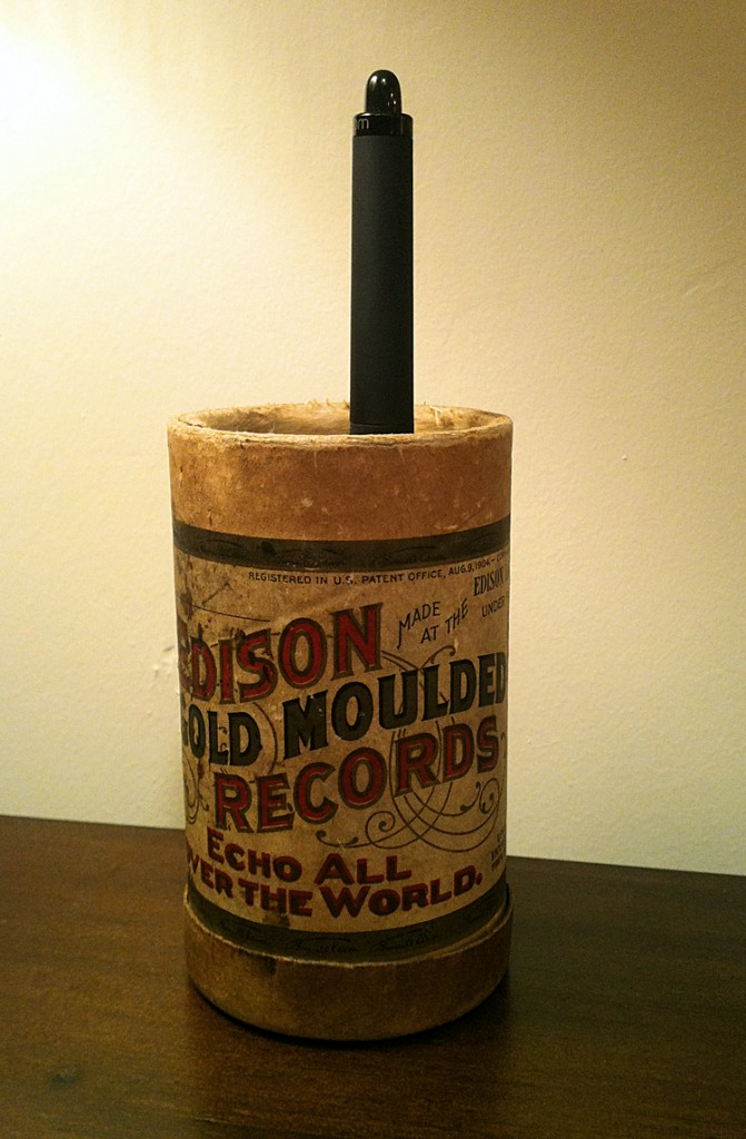 1904 Edison Gold Moulded Cylinder Record Cardboard Tube at home